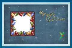 Blue background, festive lights frame royalty free stock photo