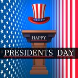 Happy President`s Day. With a catwalk, American Uncle Sen's hat on the background of the American flag. Vector illustration. royalty free illustration