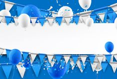 Background with flags and balloons. Blue background with flags, balloons and confetti. Vector paper illustration Royalty Free Stock Photography