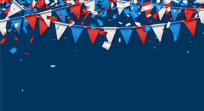 Blue background with flags and confetti. Stock Photos