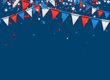 Blue background with flags and stars. Royalty Free Stock Photos