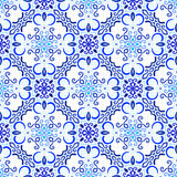 Blue Background Floral Decoration. Blue background. Stylized flower seamless pattern. Square boho design element. Vector illustration. Wallpaper print, interior Stock Photo