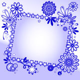 Blue background with floral ornament and label Royalty Free Stock Images