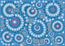 Blue  background with  flowers.  .Background. Wall Royalty Free Stock Image