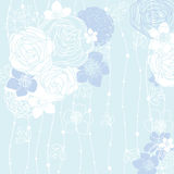 Blue background with flowers Royalty Free Stock Photos