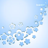 Blue background with flowers Royalty Free Stock Images