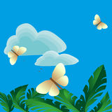 On a blue background flying butterflies over the vegetation Stock Photo