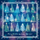 Blue  background with forest of christmas trees, v Royalty Free Stock Photo