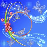 Blue background frame with the circle of flowers and butterflies with gems Royalty Free Stock Photography