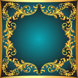 Blue  background a frame with a gold ornament Royalty Free Stock Photography