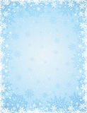 Blue background with frame of snowflakes and stars, vector ill royalty free stock photo
