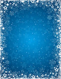 Blue background with frame of snowflakes, vector Royalty Free Stock Photo