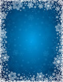 Blue background with frame of snowflakes, vector. Illustration Stock Illustration