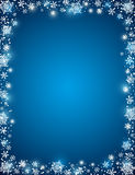 Blue background with frame of snowflakes. Vector stock illustration