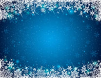 Blue background with frame of snowflakes. Vector royalty free illustration