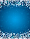 Blue background with frame of snowflakes. Vector vector illustration