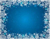 Blue background with  frame of snowflakes, vector Stock Photography