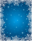 Blue background with  frame of snowflakes, vector Stock Photos