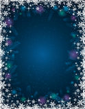 Blue background with frame of snowflakes, vector. Illustration royalty free illustration