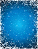 Blue background with  frame of snowflakes,  vector Royalty Free Stock Images