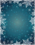 Blue background with  frame of snowflakes,  vector Royalty Free Stock Image