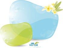 Blue background with frangipani Royalty Free Stock Images