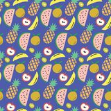Blue background with fruits pattern of watermelon, pineapple, banana, apple, and kiwi. A playful, modern, and flexible pattern for brand who has cute and fun vector illustration