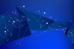 Blue background futuristic polygon and line connect dot with text space royalty free illustration