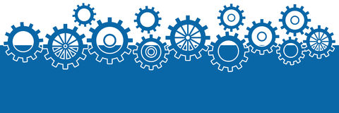 Blue Background With Gears Horizontal Stock Photos