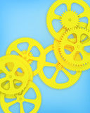 Blue background with gears yellow. Stock Image