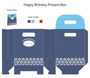 Blue background Gift Box. Blue and White Present Box Vector Illustration