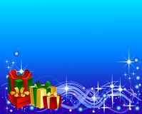 Blue Background with Gift Boxes Royalty Free Stock Photo