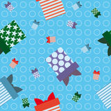 Blue background gift wrapping Stock Photo