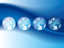Blue background with globes. Blue wavy background with globes. Vector illustration Royalty Free Stock Image
