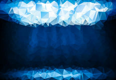 Blue background with glowing crystal polygon. With space for your text Stock Photos