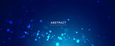 Blue background with glowing dots bokeh style. Vector stock illustration