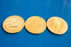 Crypto currency on a blue background stock images