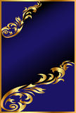 Blue background with gold(en) ornament Stock Photo