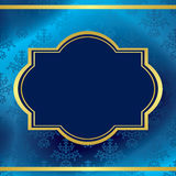Blue vector background with gold frame and pattern Royalty Free Stock Photo