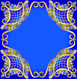 Blue background with gold pattern and precious stones Royalty Free Stock Image