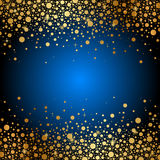 Blue background with gold sparkles Stock Photos