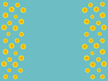 Blue background with golden coins and space for text Royalty Free Stock Images