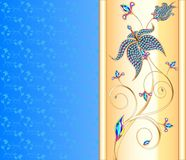Blue background with the Golden flower of precious stones Royalty Free Stock Photography