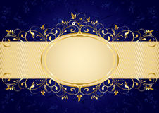 Blue background with golden frame. Background with decorative golden template, illustration Royalty Free Stock Photography
