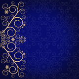 Blue background with golden lace floral ornament border Stock Image