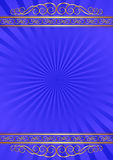 Blue background. With golden ornaments Royalty Free Stock Photo