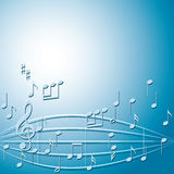 Blue vector background with gradient and music notes Royalty Free Stock Photography
