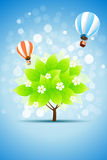 Blue Background with Green Tree Stock Photos