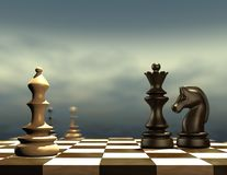Blue background illustration with chess pieces. Blue background illustration with chess pieces in front stock illustration