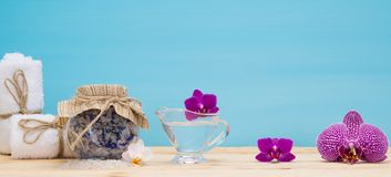 Blue background for the inscription SPA with objects. On it Royalty Free Stock Photography